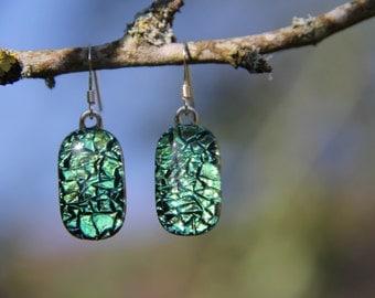 Green crinkle dichroic glass earrings, green dangly  earrings, green drop earrings, green dichroic, birthday gift, fused glass