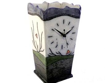 Raku ceramic clock vase #1