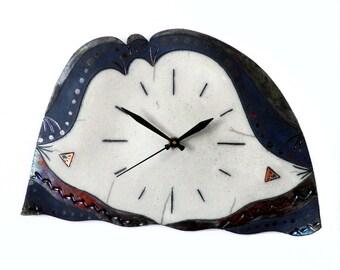 Raku ceramic wall clock #6