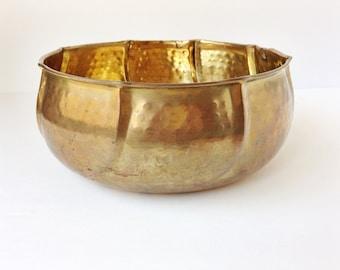 Vintage large brass hammered bowl