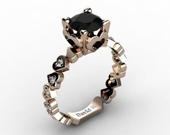 Soulmate 14K Rose Gold 1.0 Ct Black And White Diamond Engagement Ring R1043-14KRGDBD