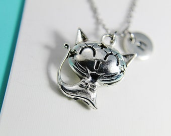 Cat Necklace Silver Cat Pendant Charm Necklace with Personalized Initial Necklace Monogram Custom Jewelry