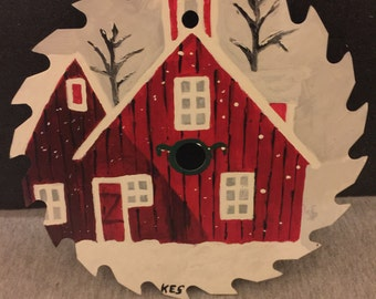 Hand Painted Saw Blade - Red Barn In Winter