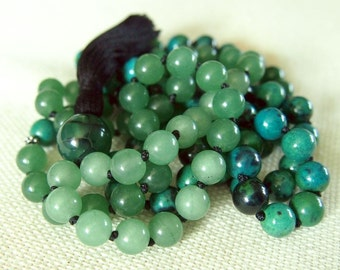 Hand Knotted 108 Mala Beads, Chrysocolla and Jade Mala 108 Beads, Green Meditation Prayer Beads, 108 Mantra Mala Beaded Tassel Necklace