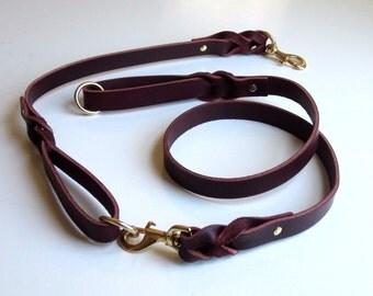 "Leather Leash, Leather Dog Lead, 1"" Wide Premium 11-12 oz Latigo Leather, Dog Leash Set, Heavy Duty, Strong"