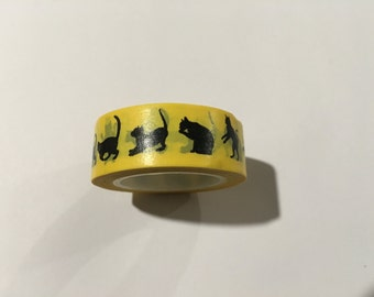 Cats on Yellow Background Washi Tape