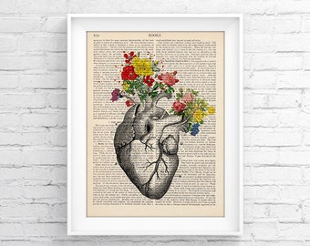 Anatomy print, Medical poster, Vintage Book Print, Wall decor, Decorative Art, Retro Poster Vintage Illustration Gift poster Heart 002