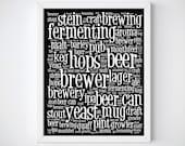 Beer Poster, Beer Lover Gift, Beer Art, Black and White Prints, Beer Wall Art, Beer Gift, Cool Groomsmen gift, New House Gift