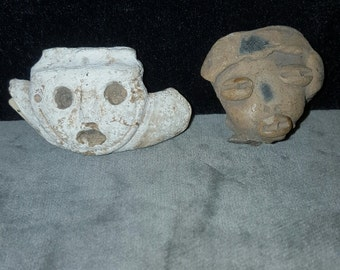Two Pre-Columbian heads