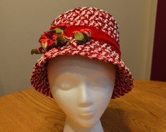 Vintage Red and White Straw Bucket Ha