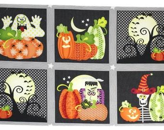 Halloween Fabric, Frank-N-Friends, Halloween panel, Halloween characters, by Henry Glass, 5874