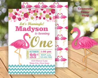 Pink Flamingo Birthday Invitation Girl Aqua Gold Invitations Luau Invite Hawaiian Luau Party Invitation Tropical Girls Photo Photograph BDF3
