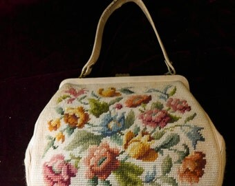 Ladies 50's Needlepoint Handbag Retro 12 x 8.5 x 4 Used (vintage) Condition Handmade