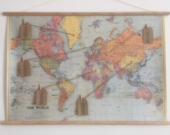 Vintage World Map Wedding Seating Plan With Wooden Dowels and Pre Attached Cord For Hanging