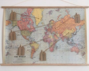 Wooden Dowel Etsy - Us vintage map with dowel