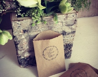 Let Love Grow Mini Wedding Favour Bags With Wild Flower Seeds