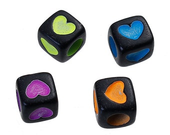 30 Neon Heart Black Square Beads | 7 mm Beads | 4031