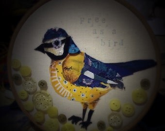Blue Tit Embroidery Hoop Art