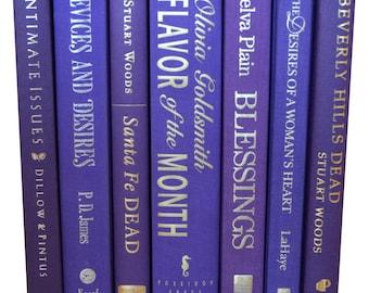 Set of 7 Purple and Violet Decorative Hardcover Books Centerpiece Instant library, home decor, Interior design, photo props