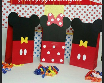 10 Mickey and Minnie Favor/Snack Bags, Minnie and Mickey Party Bags