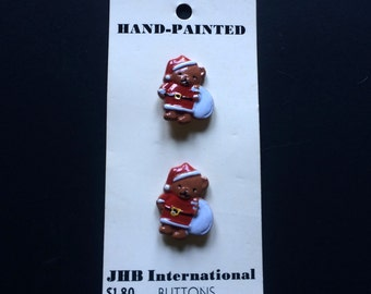 Christmas Bear - Hand Painted Buttons - JHB International - 2 Button Set - Washable/Cleanable - Christmas Accessory - Sewing - Crafts