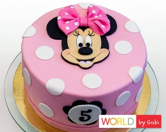 Minnie Mouse Cake Topper | Minnie Mouse Fondant | Minnie Mouse Cake Toppers | Minnie Mouse Cake Decorations | Fondant Minnie Mouse