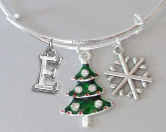 Christmas Tree / Snowflake CHRISTMAS Bangle W Initial - Adjustable BANGLE -Personalize Your Bangle - Gift For Her  Under 20 Usa  W1