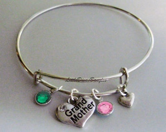 Grandmother Heart Charm / Bangle / Bracelet  W/ Two Birthstones / W/ Small Heart Accen  / Wedding  Bracelet / Bridal / Usa  F1