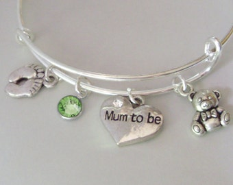 BABY Feet / MUM To Be / Teddy Bear  Charm W/ Birthstone / New Mother Adjustable Silver Bangle  / Baby Shower Gift  - Under 20  Usa  NM1