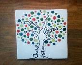 Family Tree. Two children family tree. Azulejo. Custom Family Tree. Personalized Family tree. Unique Gift . Family Gift.