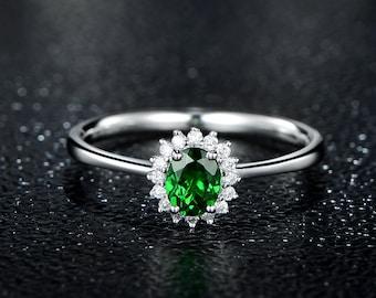 Natural Oval Cut Tsavorite Diamond  Tsavorite Garnet Ring 14K White Gold Green Garnet Ring Green Gemstone Ring