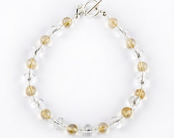 Light Bracelet - Lemon - bracelet of Rock Crystal and Citrine
