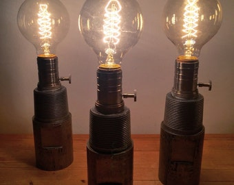 Drill Tooling Lamps. Reclaimed Upcycled Scrap Metal Edison Bulb Steampunk Industrial Loft-Style Steel Lamp