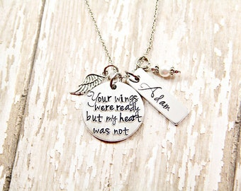 Angel Necklace - Memorial Necklace -Memorial Jewelry - Infant Loss Jewelry - Remembrance Jewelry - Hand Stamped Necklace - Angel Baby Gift