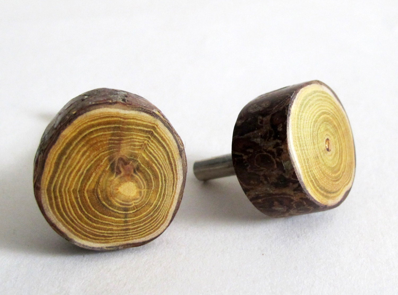 Wood drawer knob wooden log cabin rustic pull