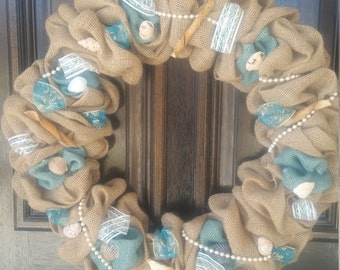 Wreath Burlap with Seashells
