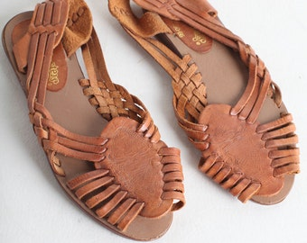 Size 7.5 Huaraches, Vintage 1980s Sandals, Woven Leather 80s Sandals