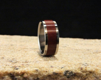 Coolibah Burl and Titanium Ring, wood inlay ring, titanium ring,wedding rings, titanium and wood ring, exotic wood ring metal and wood ring
