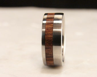 Mora and Titanium wood inlay ring,inlay wood ring, inlay wood wedding band, rare hardwood inlay ring, wood and metal inlay ring,wedding ring