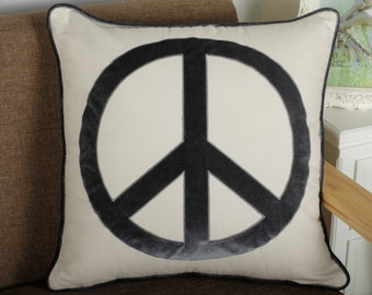 Pillowcases, pillow cover, Peace Appliqued Decorative embroidered pillow, birthday,anniversary,couple gift