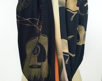 Woodstock/WildHorses Infinity Scarf, Upcycled T shirt Scarf, Handmade One of a Kind, Repurposed Clothing, Black, Gold and Rust Cotton Scarf