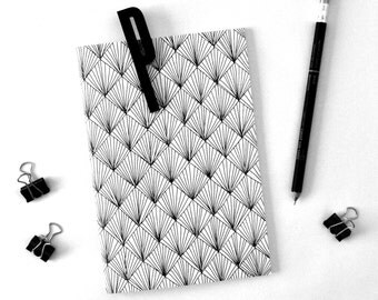 Notebook journal, Lined notebook, Black and white, Diamonds pattern, Gift ideas