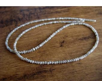 ON SALE 50% Rough Diamond Bead, Faceted Diamond Beads, Raw Diamonds, Natural Diamonds, 2mm Each, 16 Inch Strand