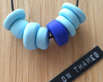 Sky Blue and Deep Blue Beaded Necklace