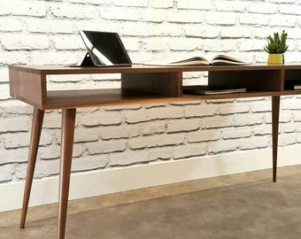Mid-Century Modern, Walnut Desk, Console Table, TV Stand, With Tapered Wood Legs