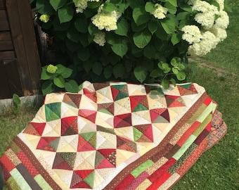 Handmade Rustic Double queen Patchwork Quilt,Bed Throw, Blanket, BedSpread, Coverlet, Beige, Red, Green, Brown, Multicolor