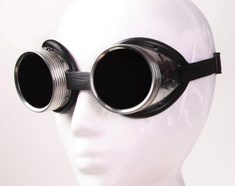 Steampunk Goggles - High Quality Welders Aluminum Metal with Tinted Glass and Rubber Lining.
