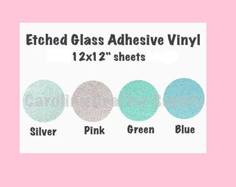 """Etched Glass Adhesive Vinyl - 12x12"""" Sheets Permanent Outdoor Vinyl Oracal 651 Equivalent 6+ Year Outdoor Life Span"""