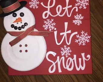 Let It Snow Button Snowman