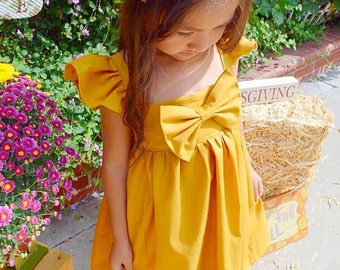 Honey Mustard Big Bow Dress with Fluffy Sleeve